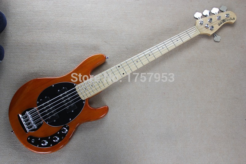 guitar factory 2017 New Ernie Ball Musicman Music Man Sting Ray Natural wood transparent orange 5 String Bass Guitar 11 10 free shipping 2017 new ernie ball musicman sting ray 4 strings white electric bass guitar in stock active pickups 1 15
