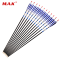 6/12/24pcs/lot 30 Inches Mixed Carbon Arrows 5 Inch BLue Turkey Feather Changeable Head Spine 500 For Archery Hunting/Shooting
