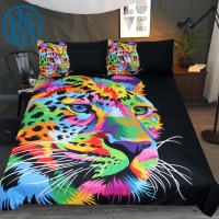 Fast & Focused Cheetah by Weer Bedding Set Leopard Duvet Cover Colorful Wild Animal Home Textiles Watercolor Bedclothes 3pcs
