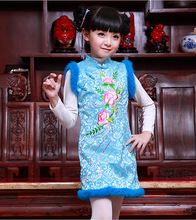Hot 2016 Autumn New Women Cheongsam Flower Dress Qipao Vintage DressTraditional Chinese Clothing Party Tang Suit Free Shipping