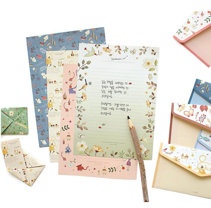 aliexpresscom buy the floral letter set letter paper4penvelopes2p brown olive blue pink mint cute gift from reliable gift bath set suppliers on
