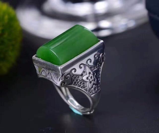 Hombre de la vendimia del anillo 13*18mm natural Hetian jade verde anillo para hombre max tamaño solid 925 anillo de piedras preciosas de plata para hombre moda hombre anillo