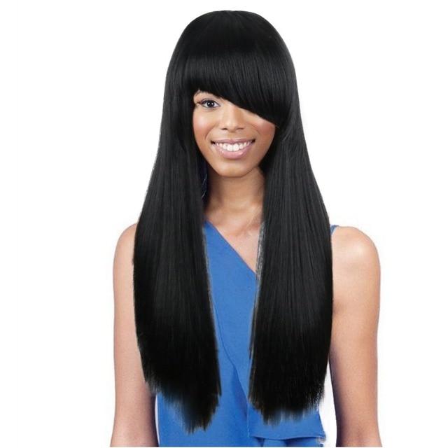 Deyngs Black Long Yaki Straight Side Wigs With Side Bangs Hairstyle