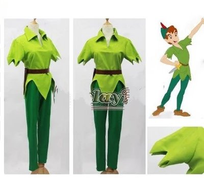 Amine Movie Peter Pan and Wendy Cosplay Costume Peter Pan Green Fancy Outfit Halloween Carnval Uniforms