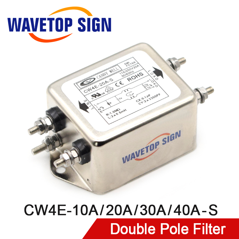 CANNY WELL Power EMI Filter CW4E-10A 20A 30A 40A-S Single Pole Filter Connector Single-Phase AC 220V Purification Anti-jamming