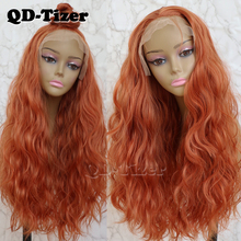 QD-Tizer Orange Color Loose Wave Hair Lace Wig with Baby Hair Glueless Free
