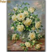 Diy Diamond painting Cross stitch sets embroidery White Rose 40*50cm 3d square drill rhinestone Paste full Needlework