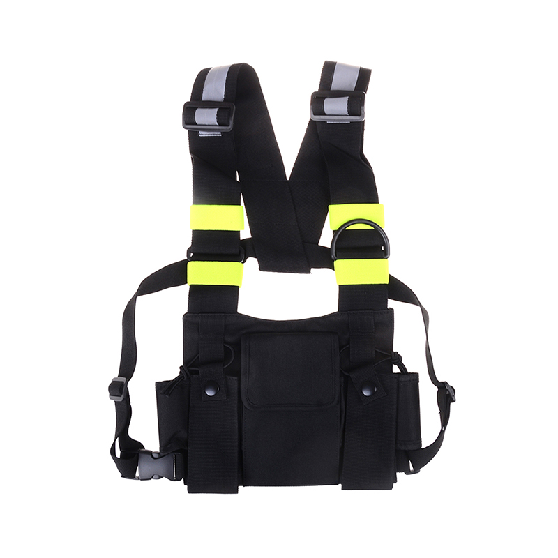 Telecom Parts Voionair 2 Pcs Nylon Adjustable Hands-free Two Way Radio Pouch Chest Front Pack