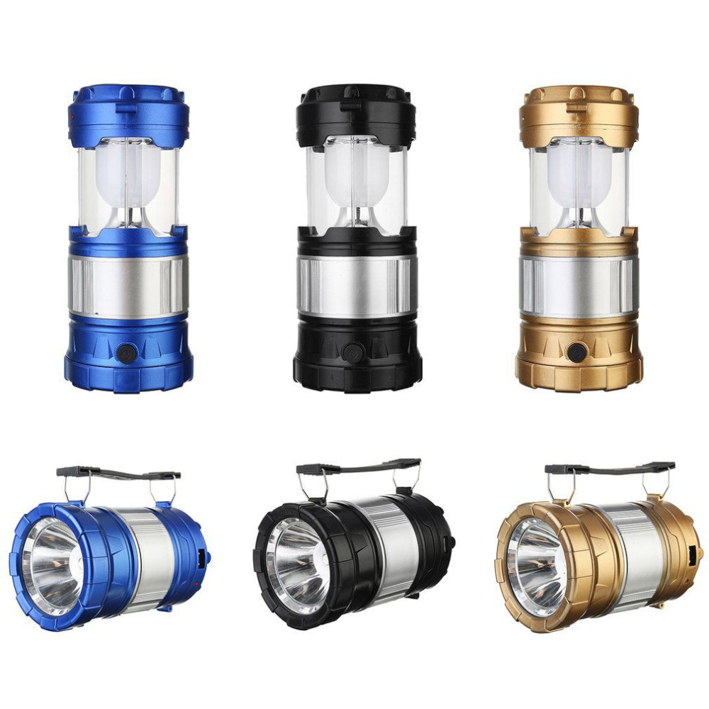 3W Solar Power Charging LED Flashlight Rechargeable Camping Tent Light Torch Portable Lamp Lantern Blue/Golden/Black