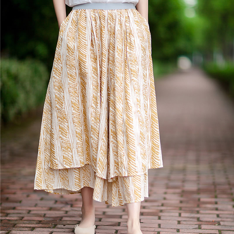 ORIGOODS Cotton Linen Print Women   Wide     leg     Pants   Skirt Boho Original design Sexy Summer   Pants   Women   Wide     leg   Trousers Skirt D013