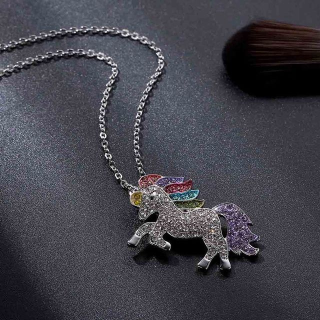 Trendy For Women Baby Gifts for High Quality Unicorn Animal Necklace Girls Rainbow Necklaces & Pendants 3