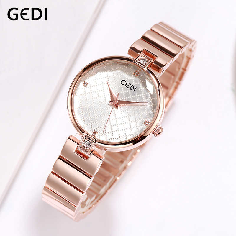GEDI Wrist Watch Women Watches Luxury Brand Alloy Ladies Clock Quartz Women Watch 2019 Relogio Feminino Montre Femme Top Fashion
