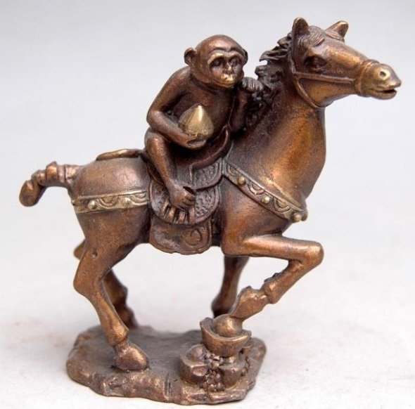Rare Old QingDynasty  copper Statue/ Sculpture---horse&Monkey, Best collection&adornment,Free shippingRare Old QingDynasty  copper Statue/ Sculpture---horse&Monkey, Best collection&adornment,Free shipping