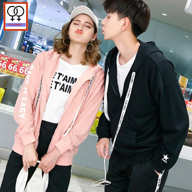 Matching Couple Clothes Lovers Autumn Winter Tops Casual Pink White Zipper Hooded Coats Cute Couple Hoodies Sweatshirts 896