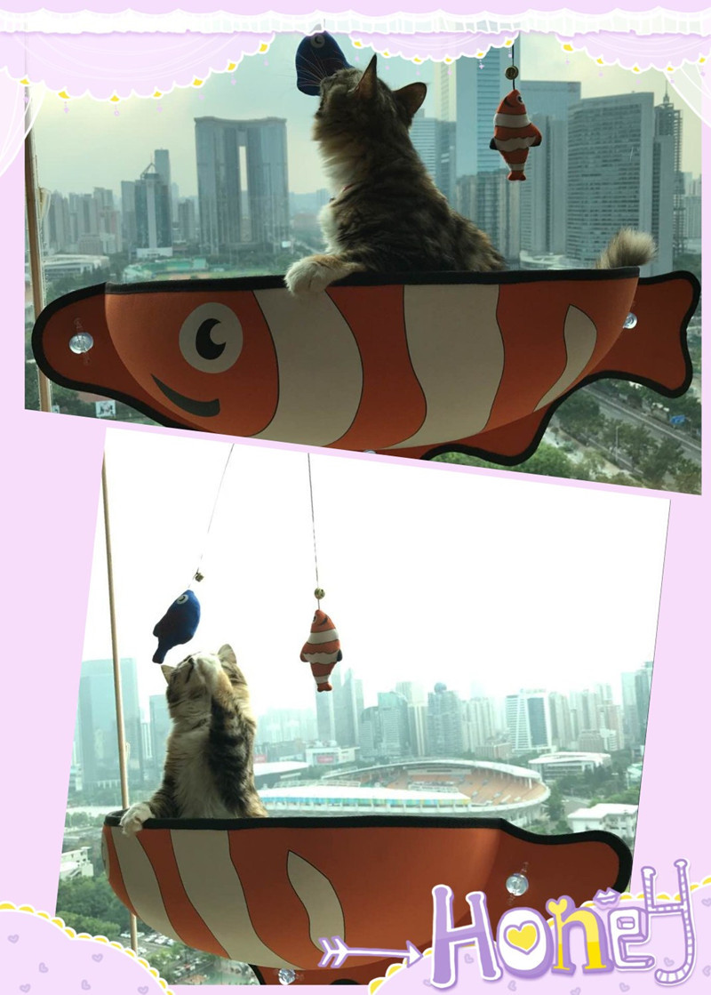 Cat Window Bed Cat Lounger Bed Hammock Sofa Mat Lounger Perch Cushion Hanging Shelf Seat with Suction Cup for Ferret Chinchilla 13