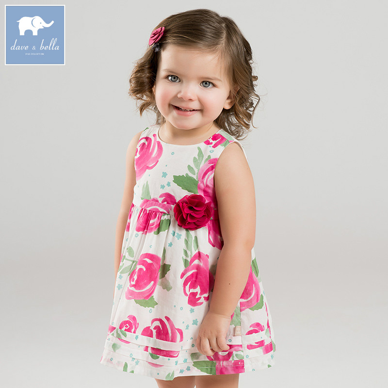 Dave bella summer baby girls Princess Party Wedding dress children floral sleeveless dresses toddler infant clothes DBA6655 luoyamy baby girls summer birthday party dress wedding princess petal vest dresses children toddler infant clothes