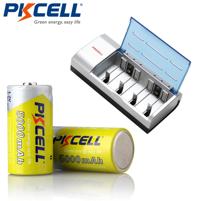 1*PKCELL C/D/9V Battery Charger+2Pcs* 1.2V NI-MH 5000Mah C size Rechargeable Battery Batteries цена
