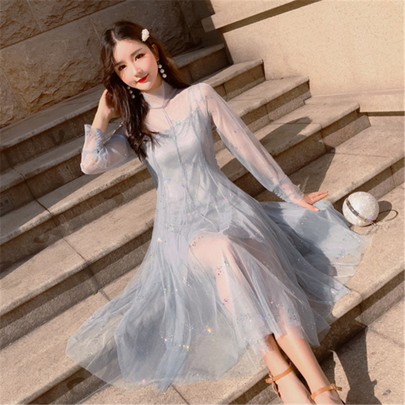 Us 2005 37 Off2019 New Japan Style Loose Womens Clothing Half Collar Mesh Lace Spring Summer Sweet Dress Female 2 Pieces Long Sleeve Dresses In