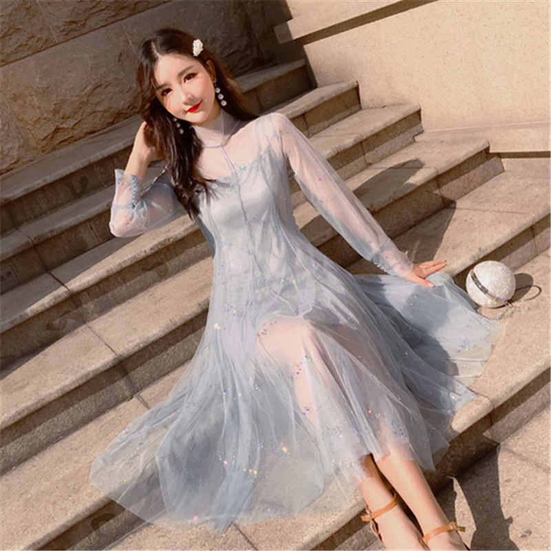4a74421f10 2019 New Japan Style Loose Women's Clothing Half Collar Mesh Lace Spring  Summer Sweet Dress Female 2 pieces Long Sleeve Dresses