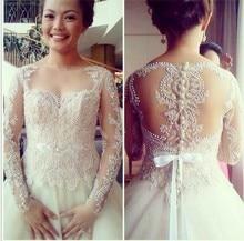 Embroideried Glamorous Brazilian Girl Bateau Beaded Sash Long Sleeve 2016 Wedding Dresses vestidos de novia