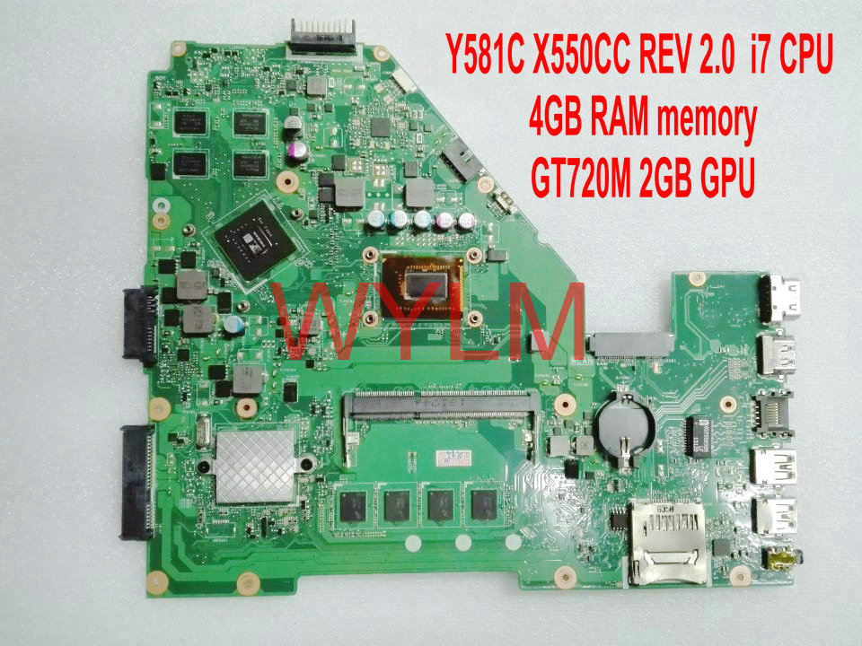 free shipping X550CC i7 CPU 4GB RAM GT720M 2G N14M GE S A2 mainboard For ASUS Y581C X550C X550CC Laptop motherboard REV 2.0
