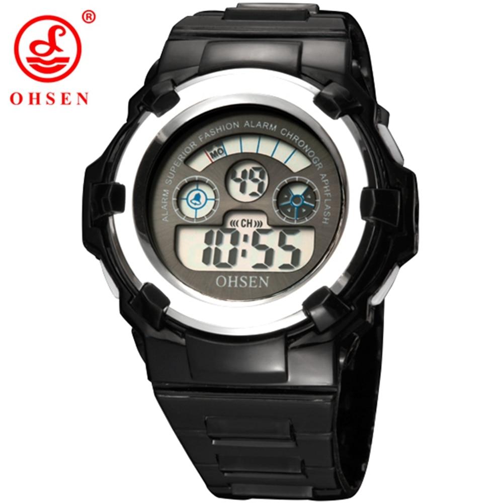 OHSEN Brand Digital Kids Children Cartoon Sport Watches Wristwatch Fashion Black Boys Student Silicone Strap LCD Alarm Watches