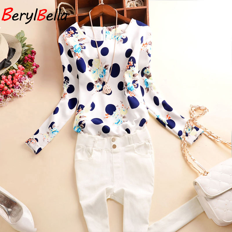 BerylBella Women Blouses 2019 Sping Summer Women Chiffon Shirts Sweet Dot Slim Blouse Long Sleeve Blusas Femininas Female Tops in Blouses amp Shirts from Women 39 s Clothing