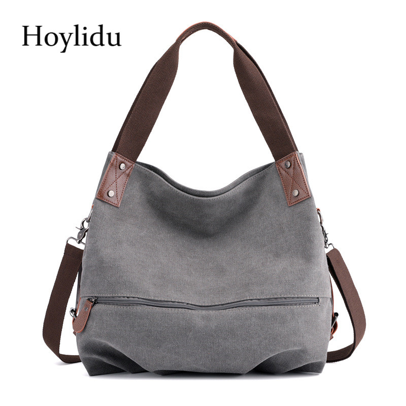 New Summer Canvas Women Shoulder Bags Adjustable Strap Fashion Casual Large Capacity Lady Travel Zipper Messenger Crossbody Bag