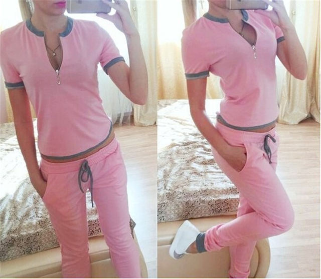 Tracksuit for Women Spring And Autumn 2017 Short Sleeve Zipper Tshirt and Pants Women's Plus Size 2 Two piece Set Female suit