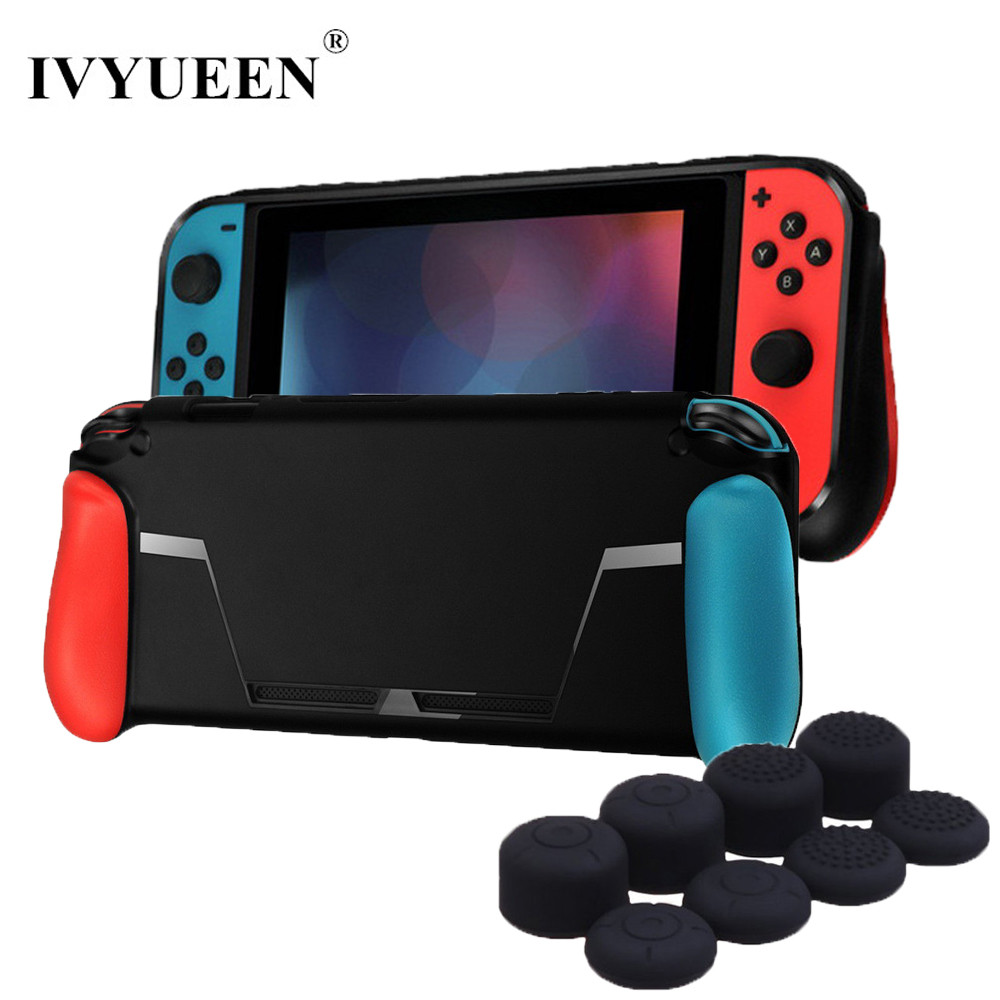 IVYUEEN Soft Protective Case for Nintend Switch NS NX Console TPU Shell Handle Grip with Game Card Slot Anti-Shock Cover Caps