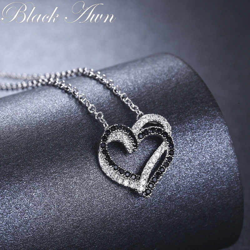 黒芒シルバーネックレス本物の 100% 925 スターリングシルバーネックレス女性ジュエリーハートブラック & ホワイトストーンペンダントネックレス PP107