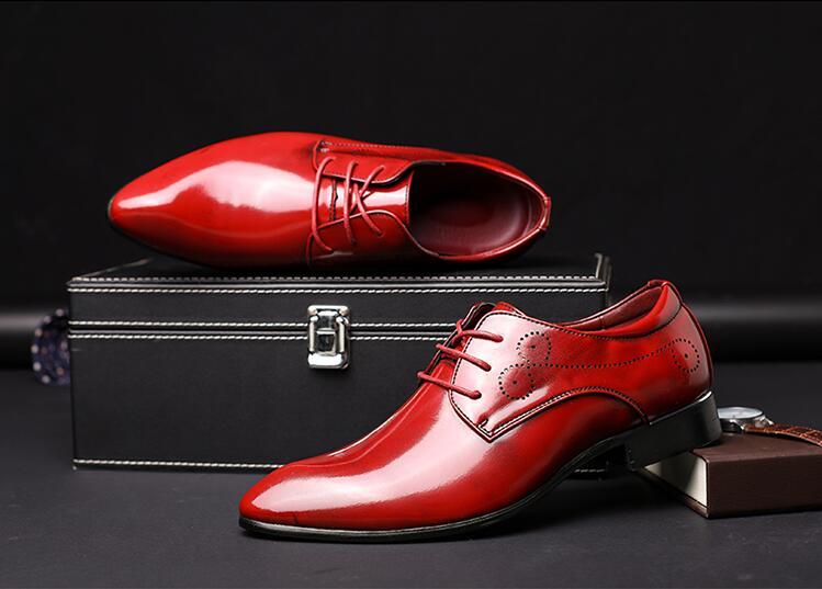 Chaussures rouge up Mâle Rouge Sculpté Mariage Dentelle Cuir Croissante Élégant Orteils Verni Robe De Britannique Pointu Style bleu Hommes Hauteur Noir m80wyvNPnO