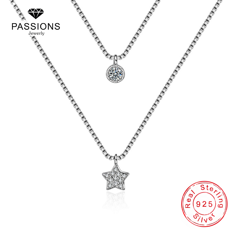 New Arrival 925 Sterling Silver Dubbellager Halsband Med Star - Märkessmycken