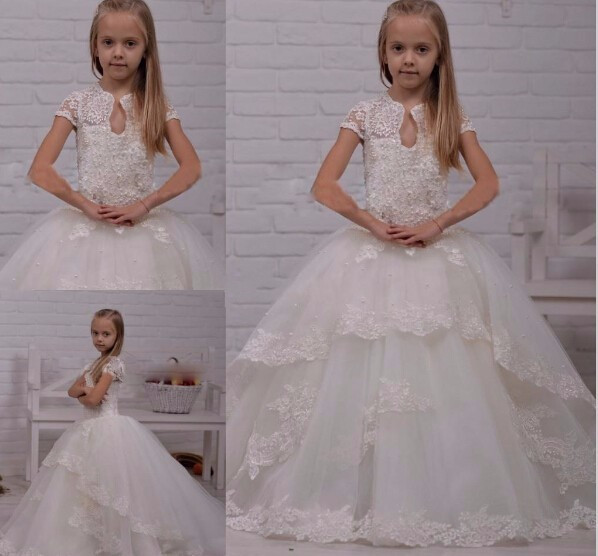 White Ivory Lace Beaded Flower Girls Dresses For Wedding Ball Gown Girls Pageant Dress For Little Girls First Communion Dress hot sale custom cheap pageant dress for little girls lace beaded corset glitz tulle flower girl dresses first communion gown