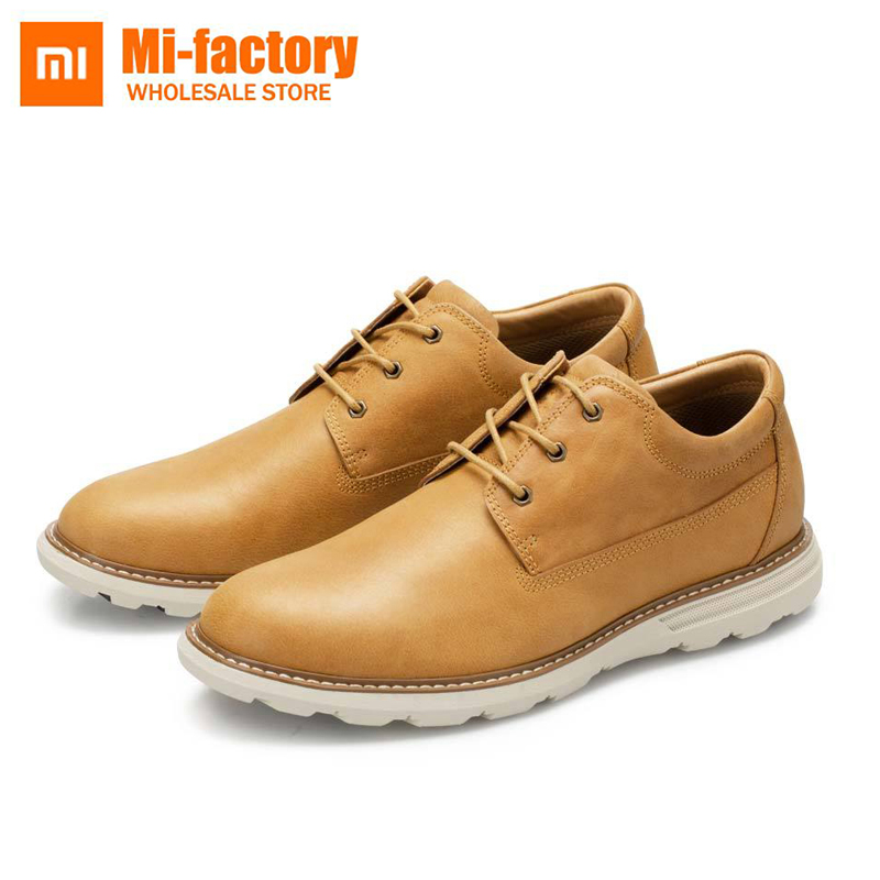 New Xiaomi Mija Qimian Leather Shoes Outdoor casual Men's Flats Design Style Men Shoes Fashion Lace Up Casual Shoes For Men simple smiley face and lace up design men s casual shoes