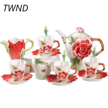 Bone china 3D peony coffee pot mugs sugar can milk jug sets Europe style kettle cups with saucer spoons drinkware lovers gifts taza de m&m