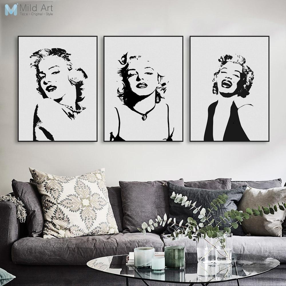 Originální akvarely Monroe Portrét Pop Vintage Canvas Umělecká reprodukce Plakát Nástěnný obraz Obývací pokoj Dekor Malování Vlastní