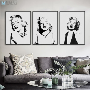 Original Watercolor Marilyn Monroe Portrait Pop Vintage Canvas Art Print Poster Wall Picture Living Room Decor Painting Custom