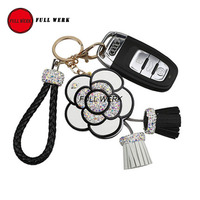 Luxury Diamond Rhinestones Camellia Metal Keychain Key Chain Women Girls Key Ring Female Handbag Pendant