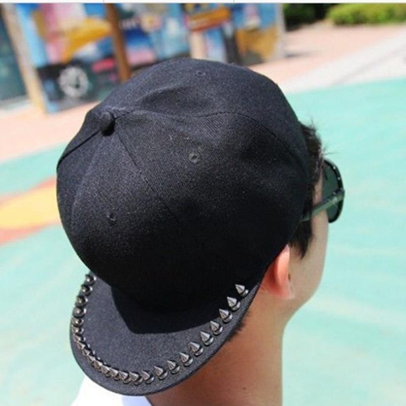 VORON Women's Punk&Rock Rivets Studded Coin Hat Spikes Baseball Cap Black Silver rivets Hip-hop Flat Free Shipping denim fabric flat top baseball hat cap black