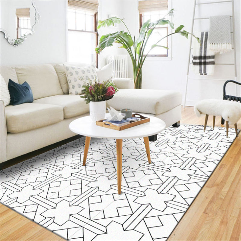 AOVOLL Simple And Stylish Modern Black And White Geometric Line Lattice Door Mat Carpets For Living Room Carpet Kids Room