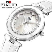 Suisse Binger montres femmes mode montre de luxe bracelet en cuir quartz papillon diamant Montres B-3026