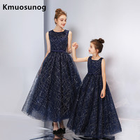 Mother Daughter Dresses Elegant Luxury Customize Wedding Dress Family Clothesirls Hand Sewn Costume Party Dress H0828