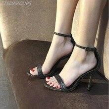Euramerican style 35-40 women shoes Star same One word buckle High heel 11.5CM Minimalism Toed sandals Sexy Nightclu pumps