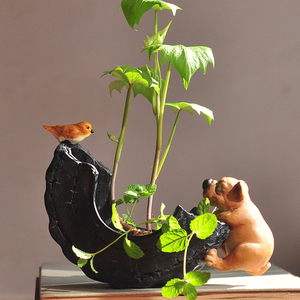 Image 5 - Di tutti i giorni di Raccolta Cute Dog Animale Decorativo Vaso di Fiori Succulente Piante Verdi Artificiali Fata Giardino Vaso di Fiori Moderna Complementi Arredo Casa