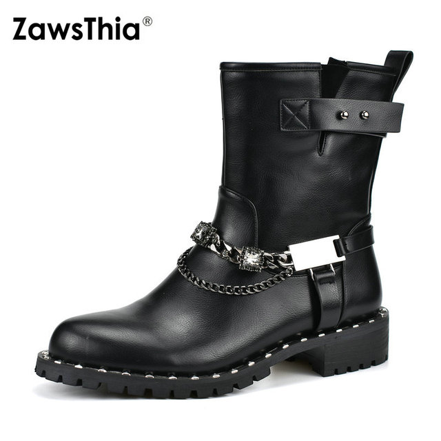 8d67e24919b6 ZawsThia round toe woman motorcycle boots chunky low heels buckle strap  crystal metal chain punk biker mid-calf martin boots
