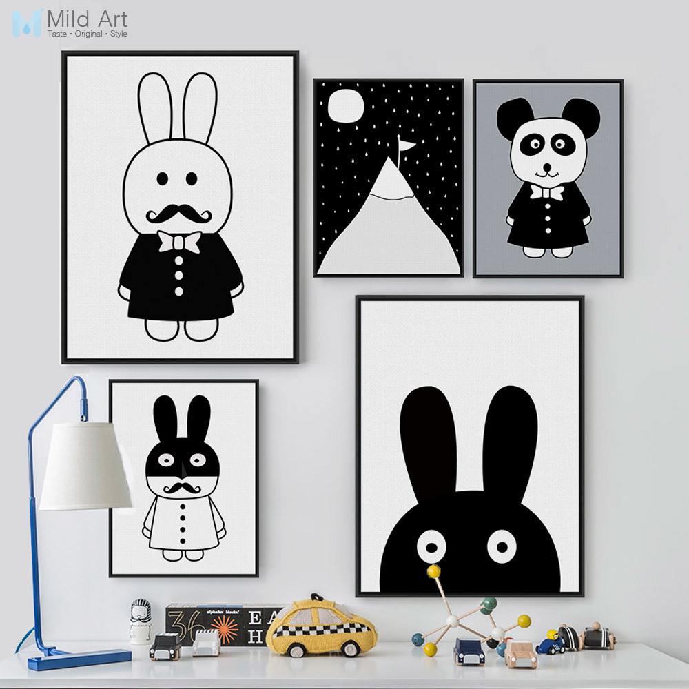 Zwart-wit Animal Rabbit Panda Posters Print Baby Wall Pictures Nordic Style Kawaii Kinderkamer Kinderkamer Decor Canvas Schilderij
