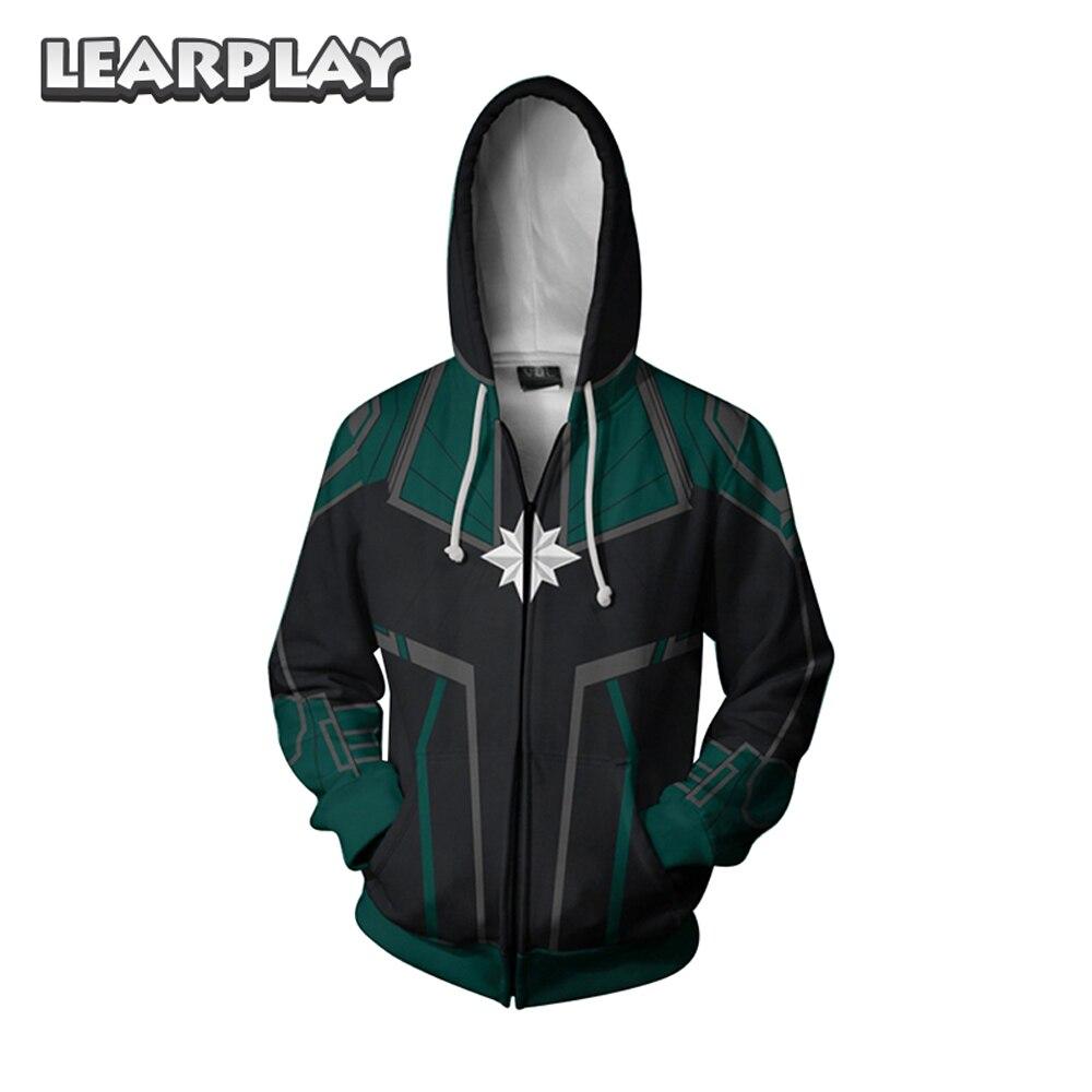 Captain Marve Cosplay Hoodies Carol Danvers 3D Printed Zipper Sweatshirt Men Women Adults Hooded Jacket Hip Hop Outfit Coat