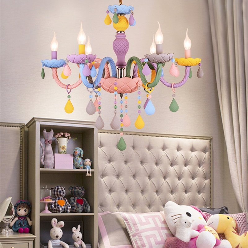 Modern Colorful Crystal Children Room Pendant Light Macaron Color Droplight Lustre De Cristal Lustre Moderno Hanglamp