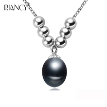 Fashion 925 sterling silver black freshwater pendant necklace 8-9mm Rice shape natural pearl necklace for wedding jewelry